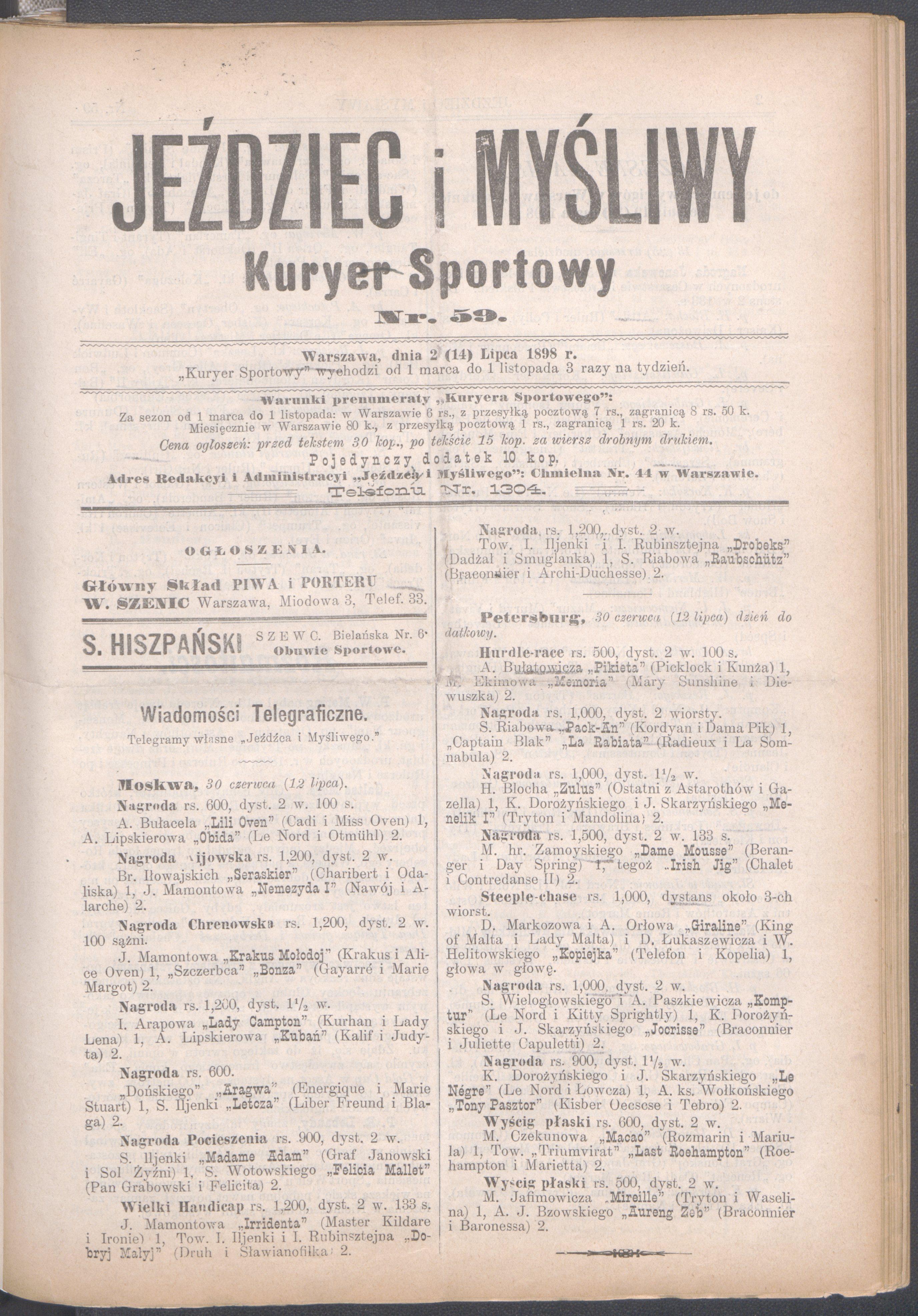 Filejeździec I Myśliwy Kuryer Sportowy 1898 Nr 59 14