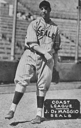 A baseball card of Joe DiMaggio when he played for the minor league San Francisco Seals of the Pacific Coast League, circa 1933-36. Joe DiMaggio SF Seals.jpeg