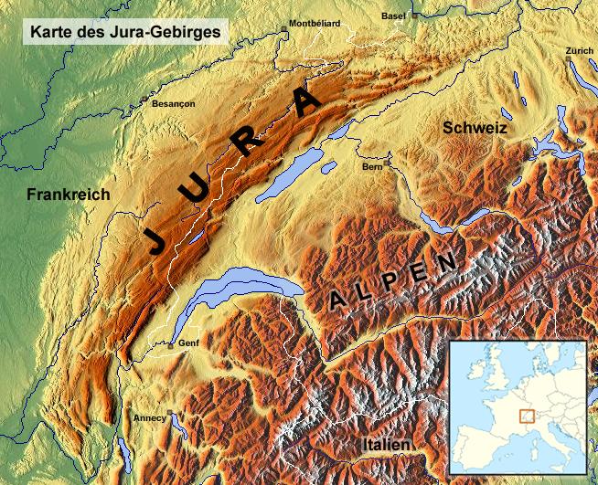 Lagekarte des Jura
