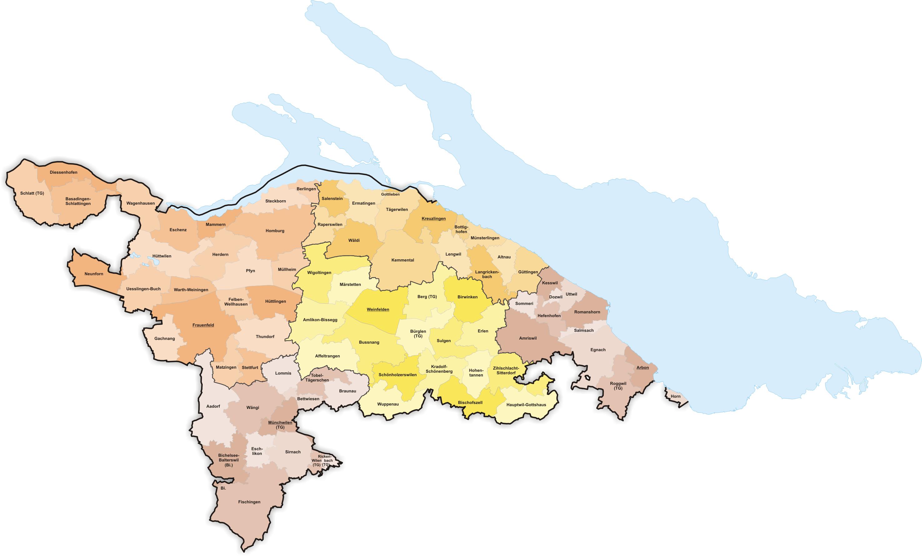 FileKarte Gemeinden des Kantons Thurgau farbig 2011png Wikimedia