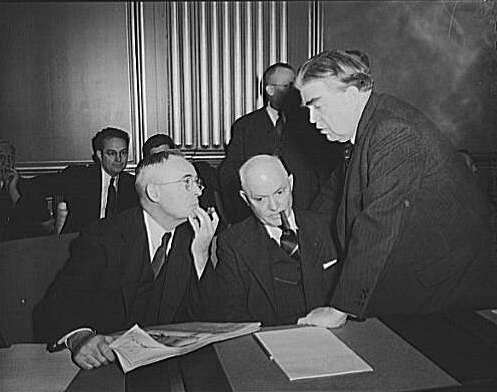 John L. Lewis (right), President of the United Mine Workers (UMW), confers with Thomas Kennedy (left), Secretary-Treasurer of the UMW, and Pery Tetlow (center), president of UMW District 17, at the War Labor Board conference of January 15, 1943, discussing the anthracite coal miners' strike. Kennedy tetlow lewis.jpg
