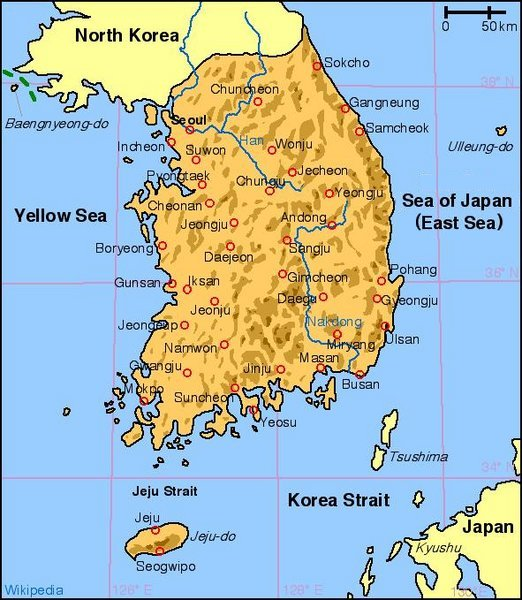 Geography Of South Korea Wikipedia - Map of south korea