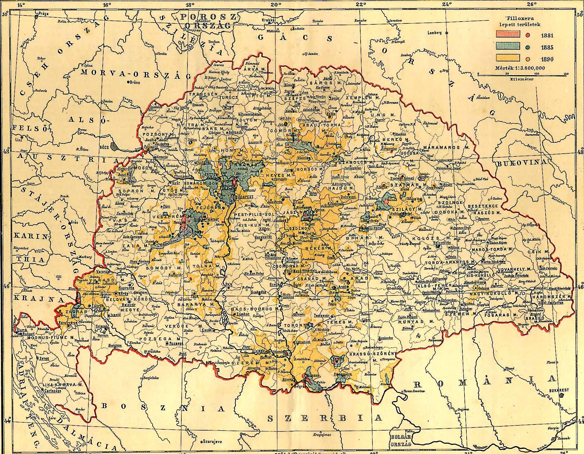 magyarország térkép 1864 Fájl:Magyarország Filoxéra térkép 1890. – Wikipédia magyarország térkép 1864
