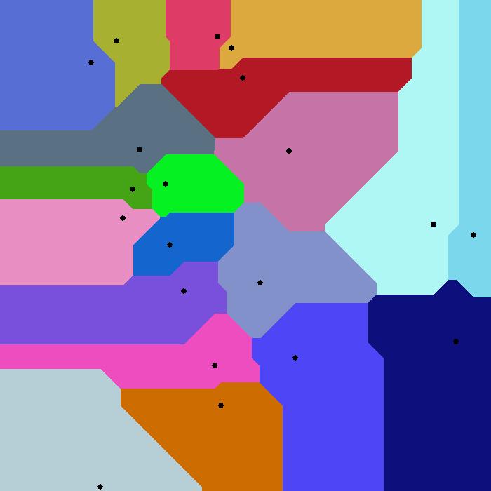 2D Voronoi diagram under L1 metric