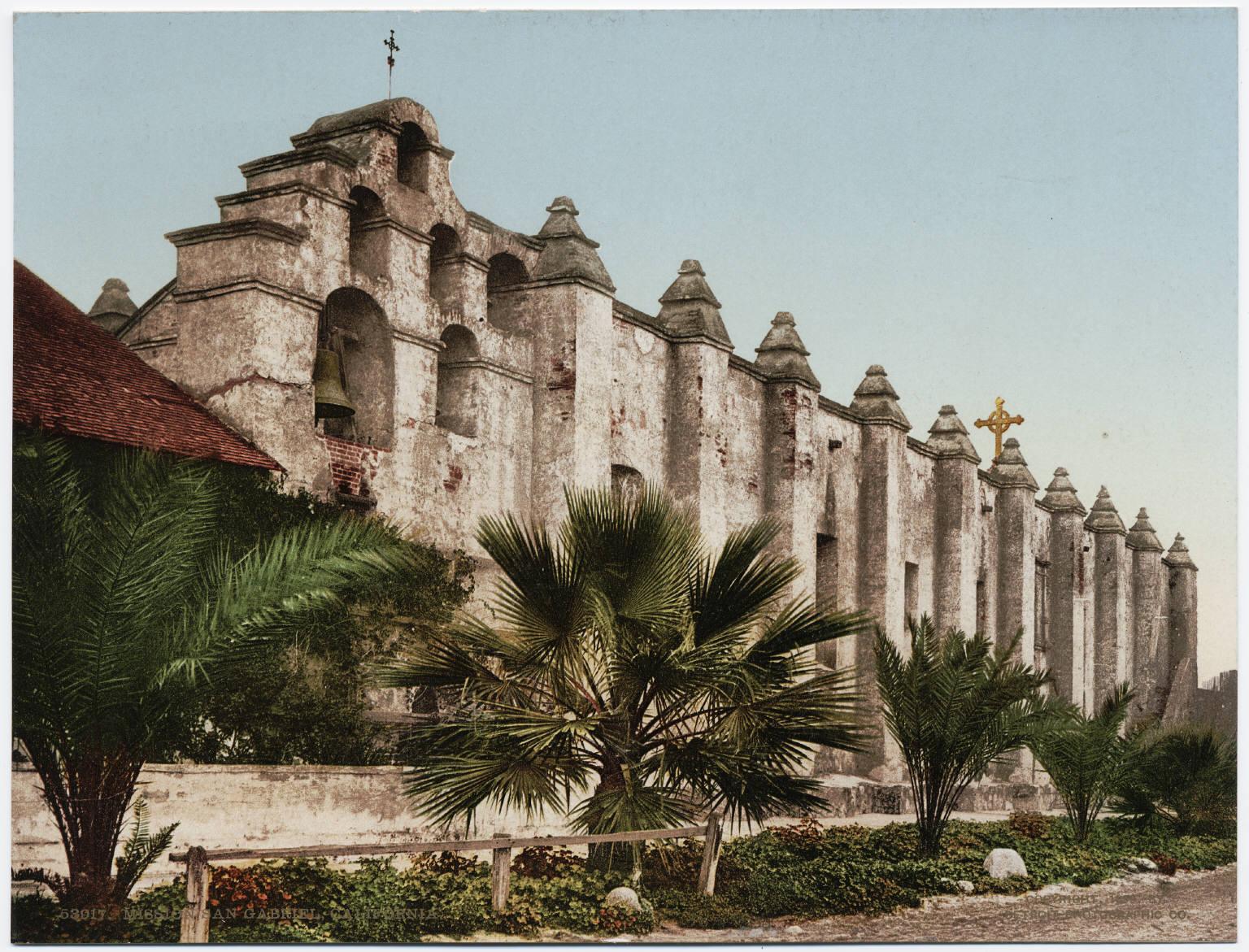 File:Mission San Gabriel Arcángel, circa 1897 (photochrome ...