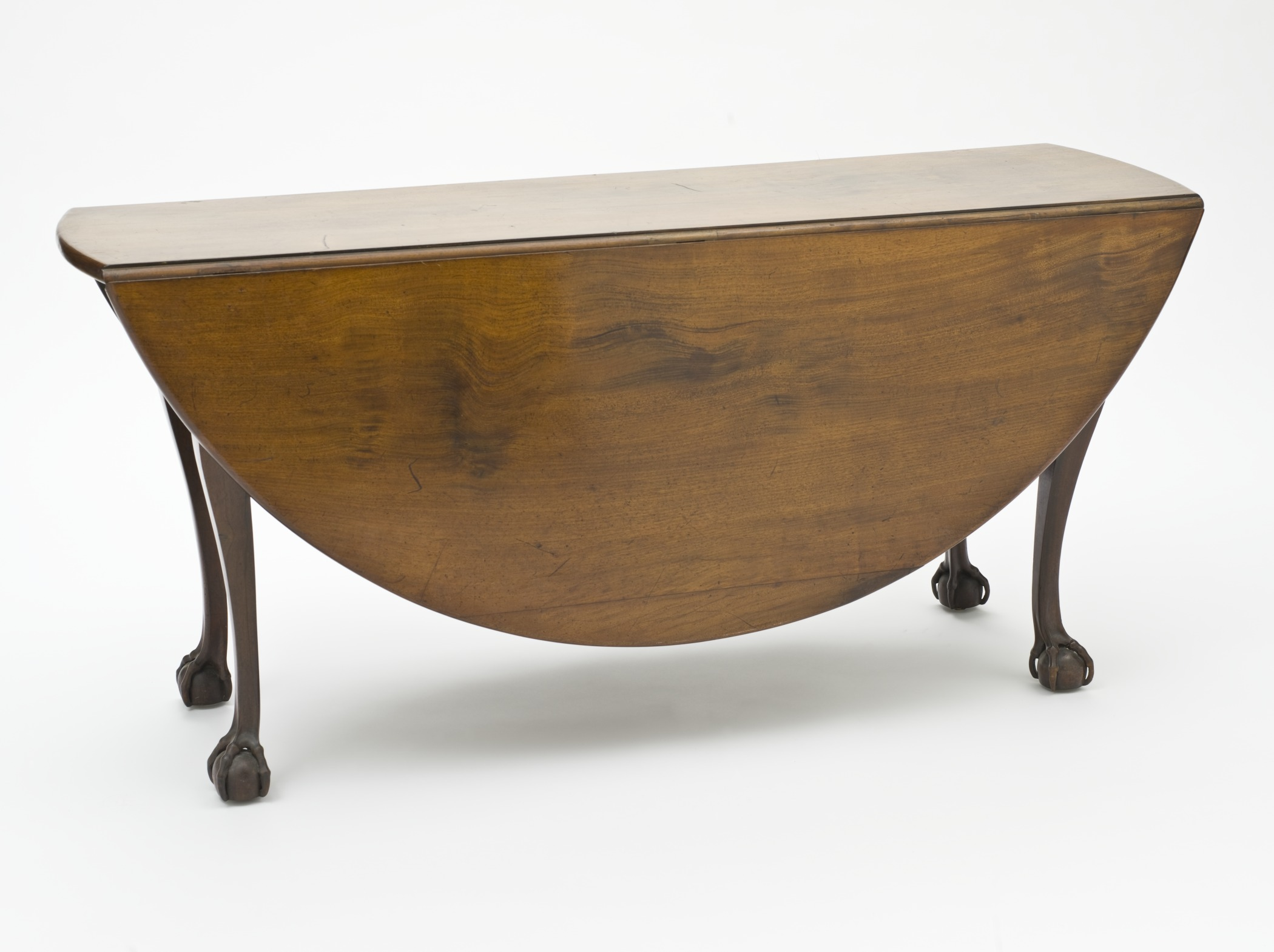FileOval Drop Leaf Dining Table With Ball and Claw Feet
