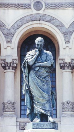 Statue in Constanta, Romania (the ancient colony Tomis), commemorating Ovid's exile Ovidiu03.jpg