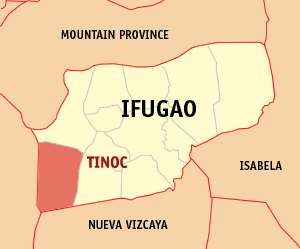 Map of Ifugao showing the location of Tinoc