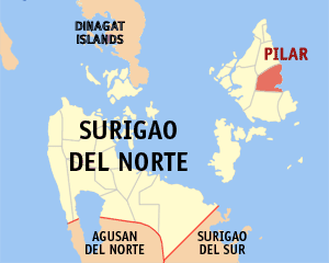 Map of Surigao del Norte showing the location of Pilar