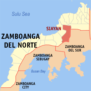 Map of Zamboanga del Norte showing the location of Siayan
