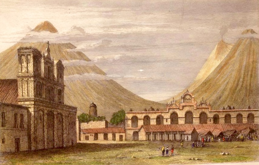 Grabado del parque de la Antigua Guatemala en 1829.