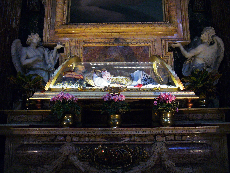 Johannes Leonardis relikvier på alteret i Santa Maria in Portico in Campitelli