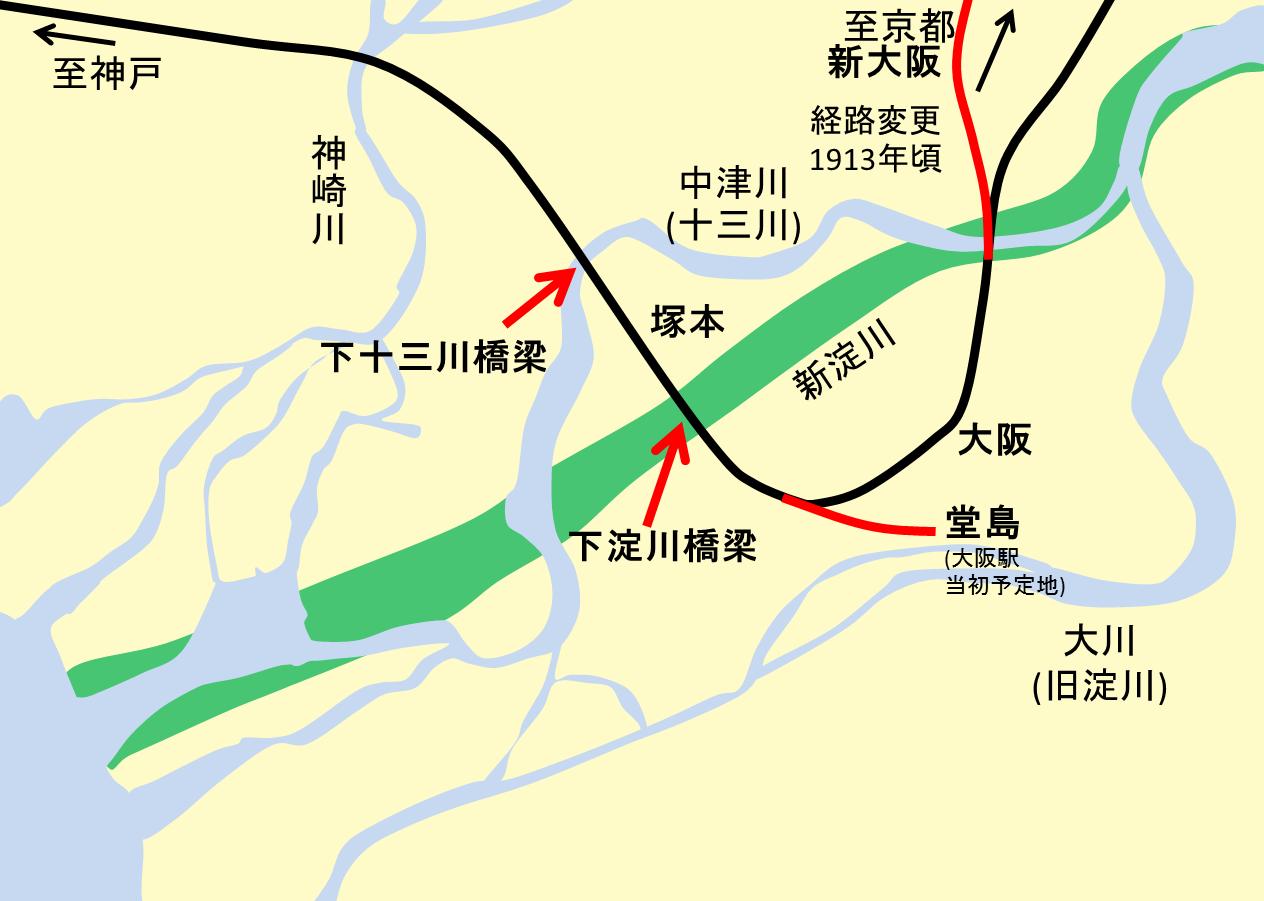 ファイル shimoyodogawa bridge position map with yodo river ja png