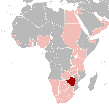Southern Rhodesia in red; other Commonwealth territories in pink Southern Rhodesia in 1939.png