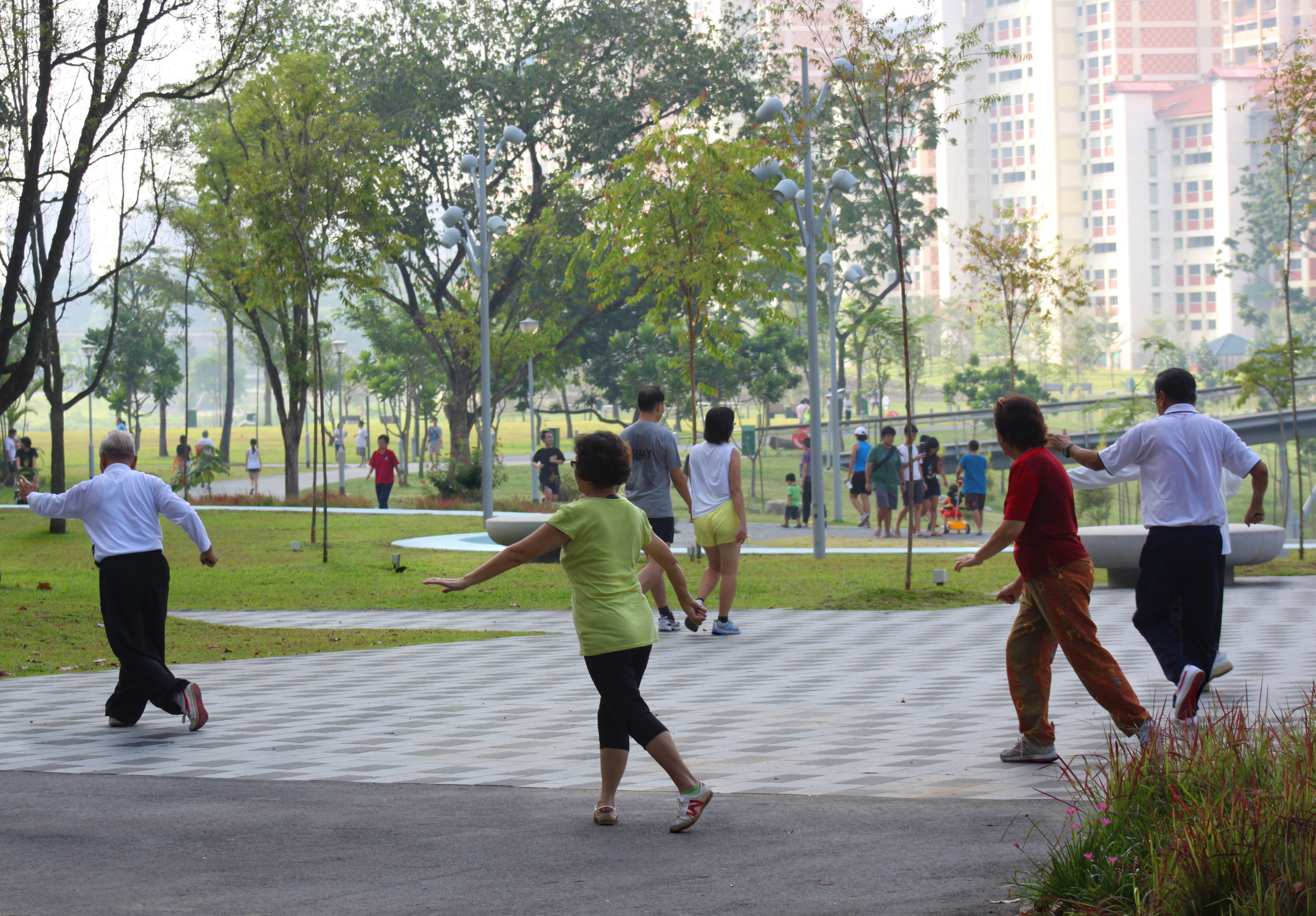 Men and women exercising in a park