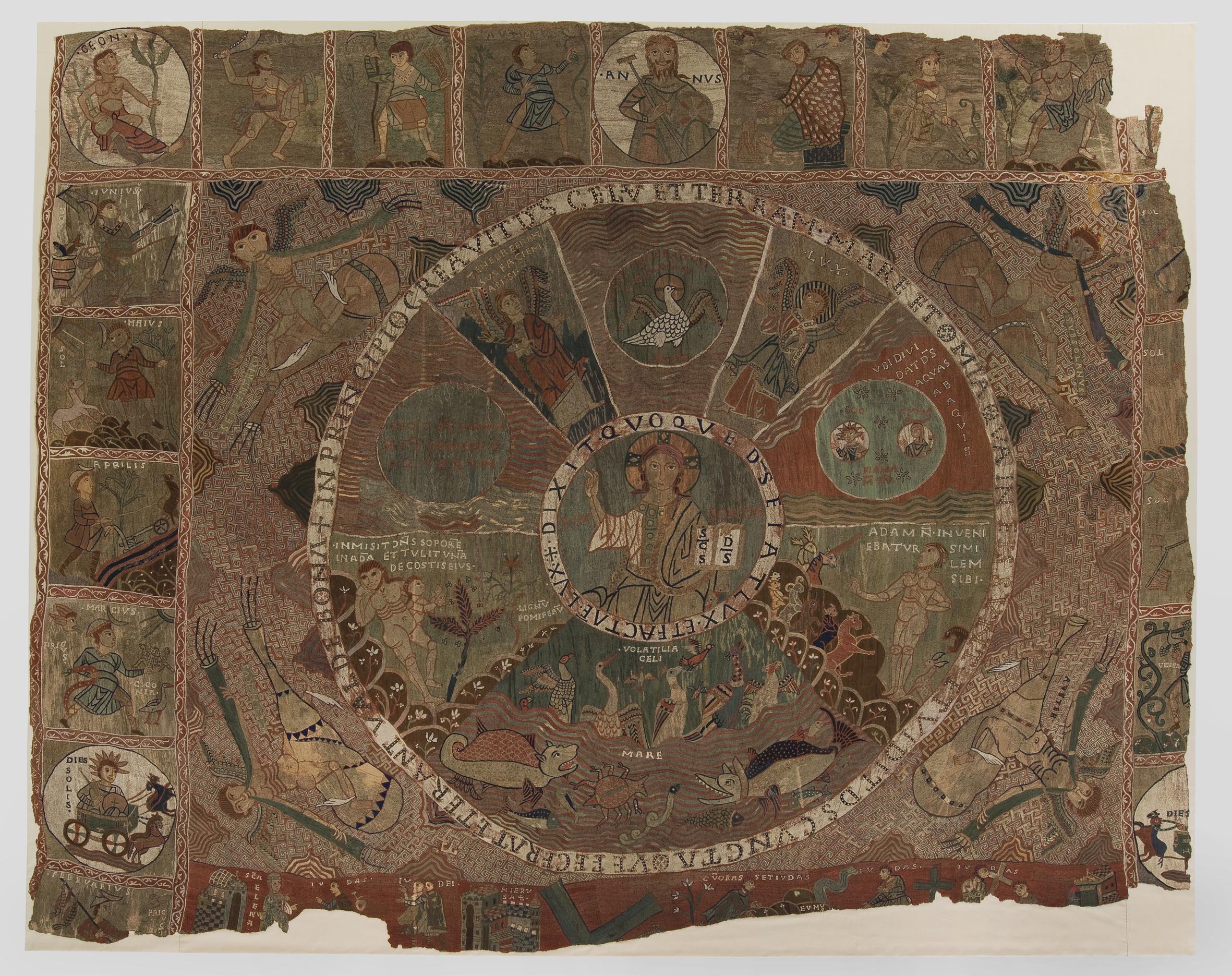 Tapiz románico de la Creación, (Siglo XI) de la catedral de Gerona, que figura en la trama de ''La nave de los locos''.