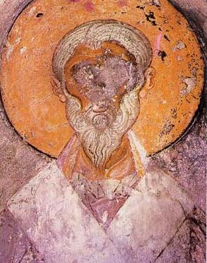 Ikon av St. Alexander avAlexandria i klosteret Veljusa Monastery i Makedonia