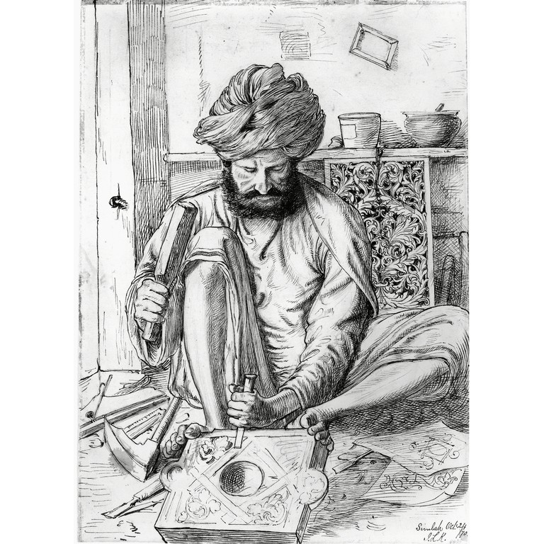 Filewood carver at shimla pencil and ink drawing by john lockwood kipling