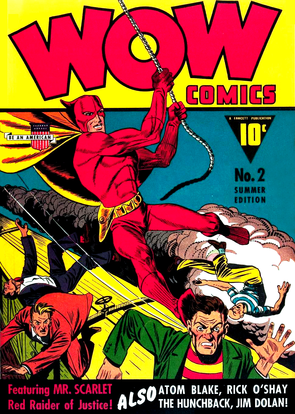 Mr Scarlet swings into action on the cover of Wow Comics number 2 (Summer, 1941).