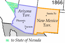 Split of Arizona and New Mexico territories, in 1866, after small portion ceded to Nevada Wpdms new mexico territory 1866.png
