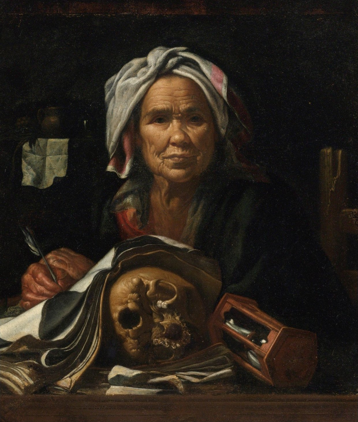 file an old philosopher at her desk with a vanitas skull and an