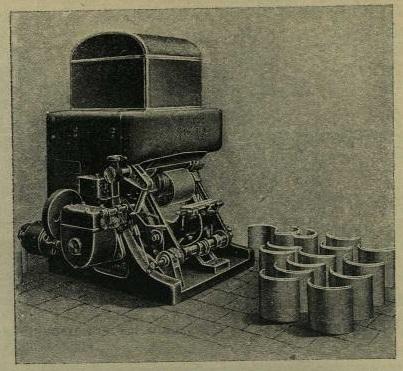 Автомат, аппарат для отливки газеты, стереотипов. В середине машины виден только-что отлитый стереотип.