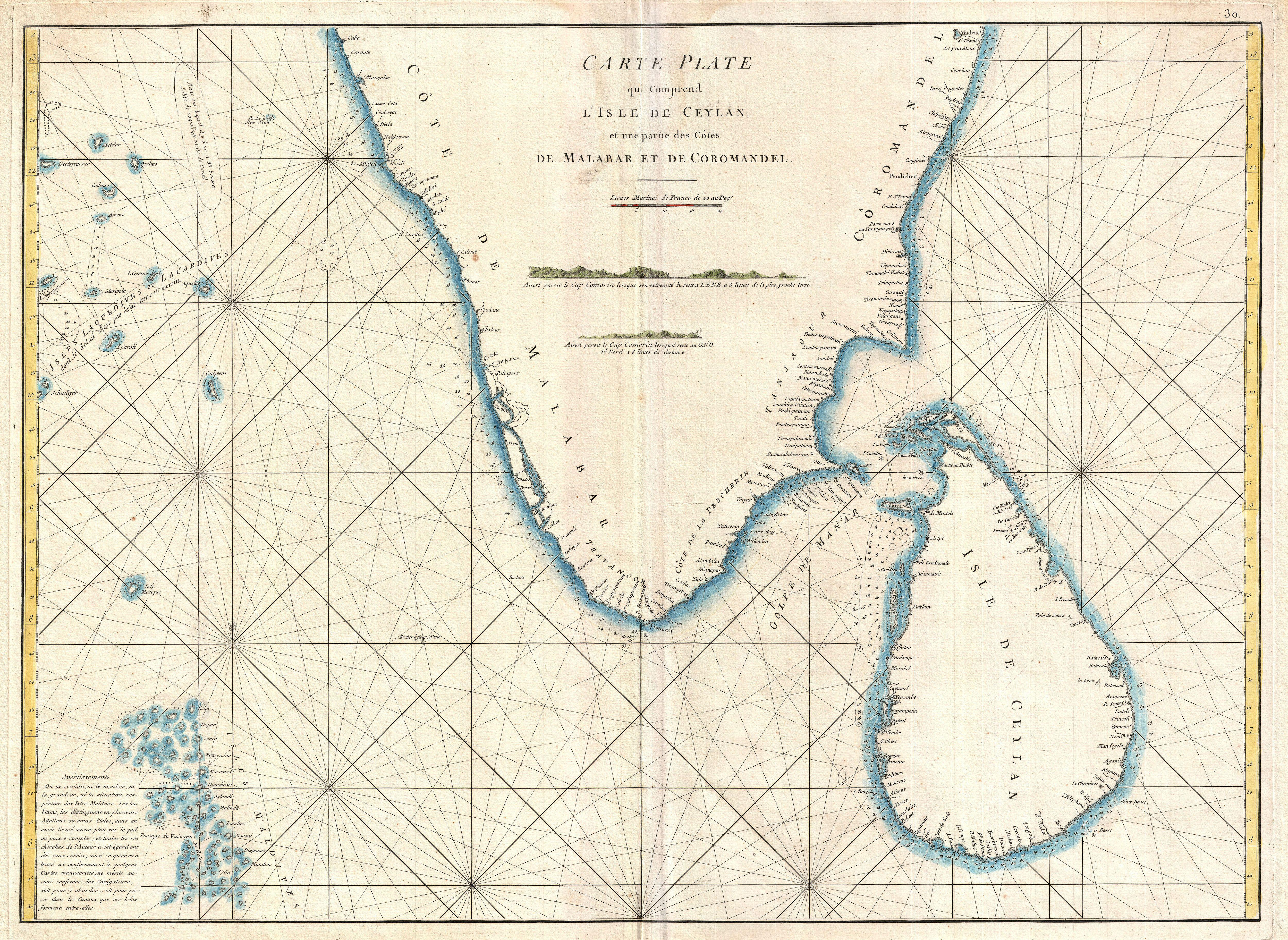Marine Charts: 1775 Mannevillette Map of Southern India and Ceylon or Sri ,Chart