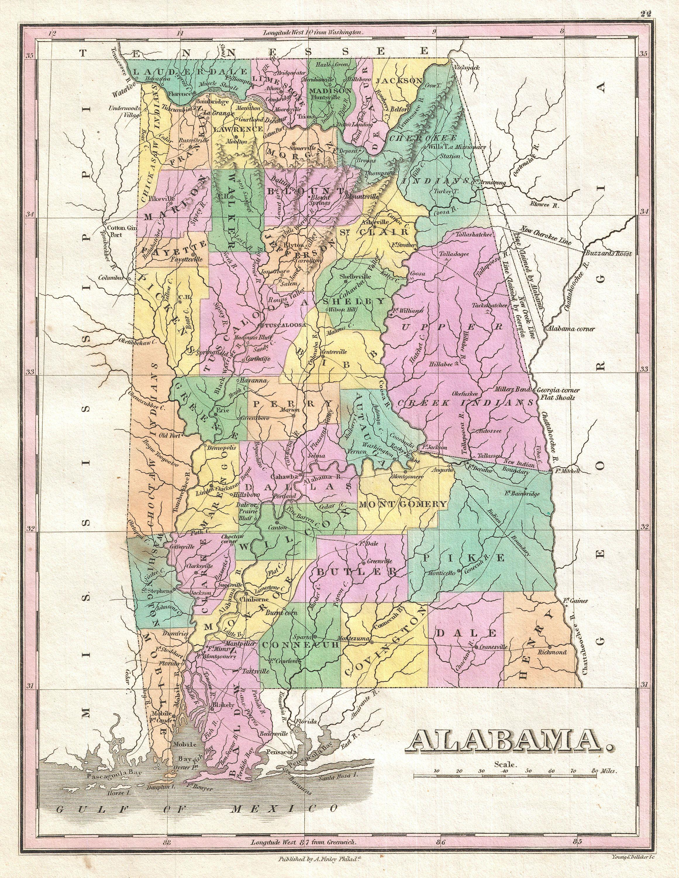 File:1827 Finley Map of Alabama - Geographicus - Alabama-finley-1827 on