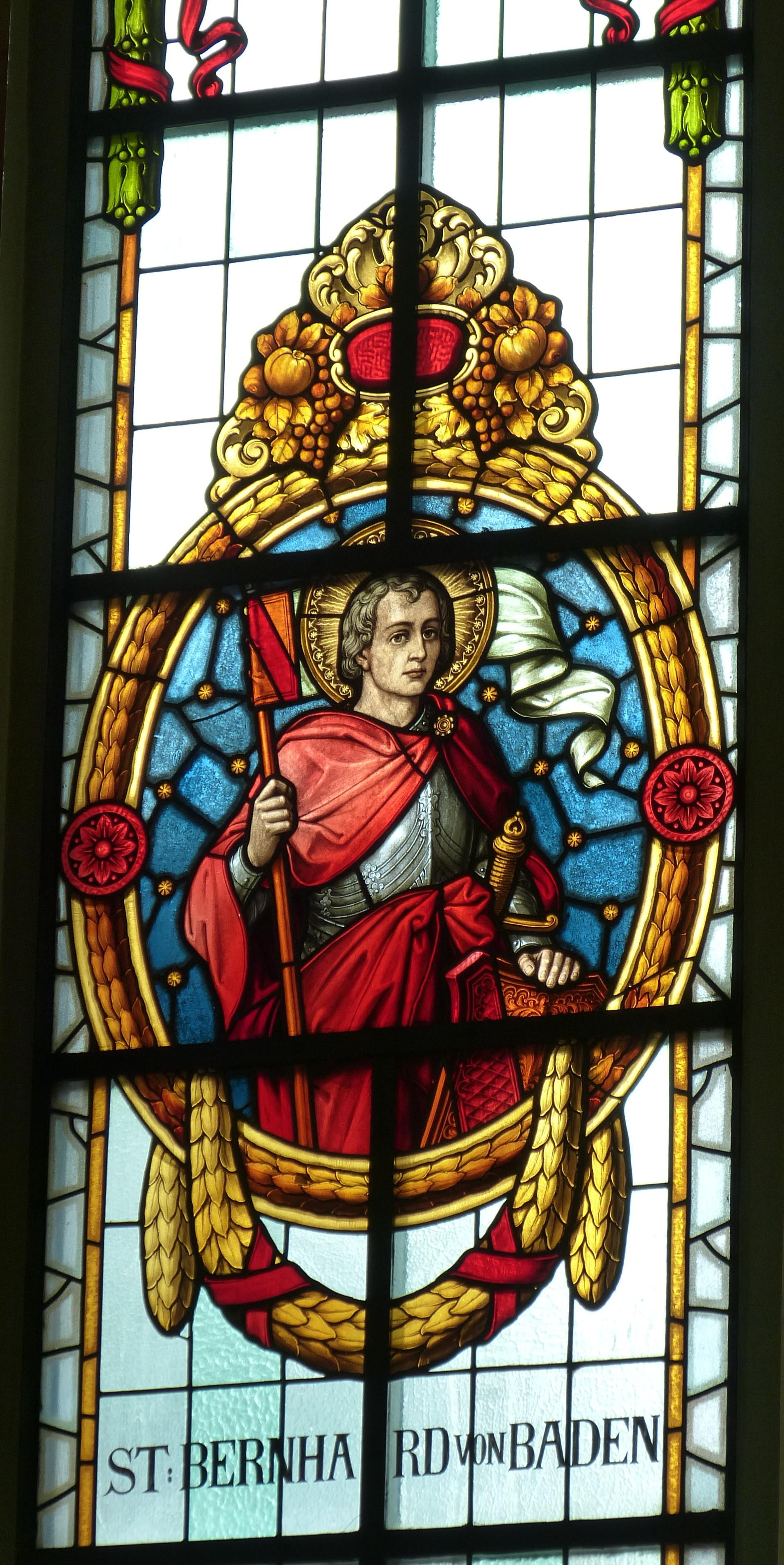 Tekst: Bernhard av Baden, glassmaleri fra 1907 i sognekirken St. Nikolaus i Allensbach i Baden-Württemberg, av Lütz og Elmpt (Konstanz)