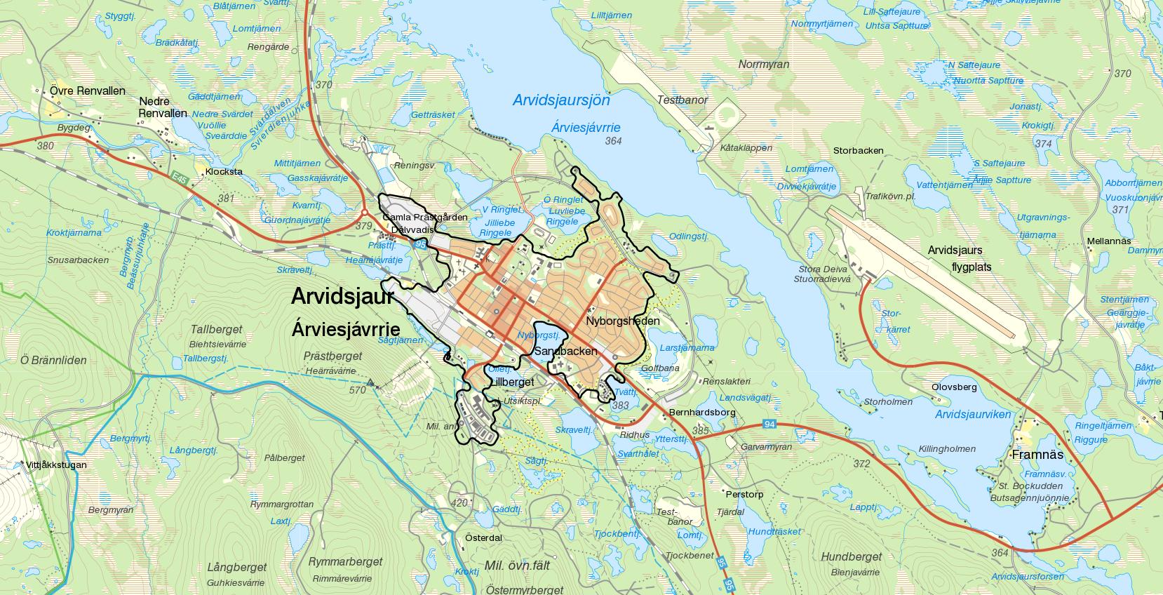 Arvidsjaur Kommun Region Map: Abborrtrask Vuotner
