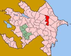 Map of Azerbaijan showing Samakhi rayon