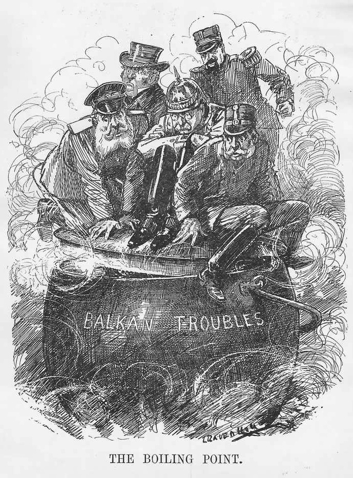 The boiling point (the Powder keg of Europe), a cartoon published in Punch 2 October 1912