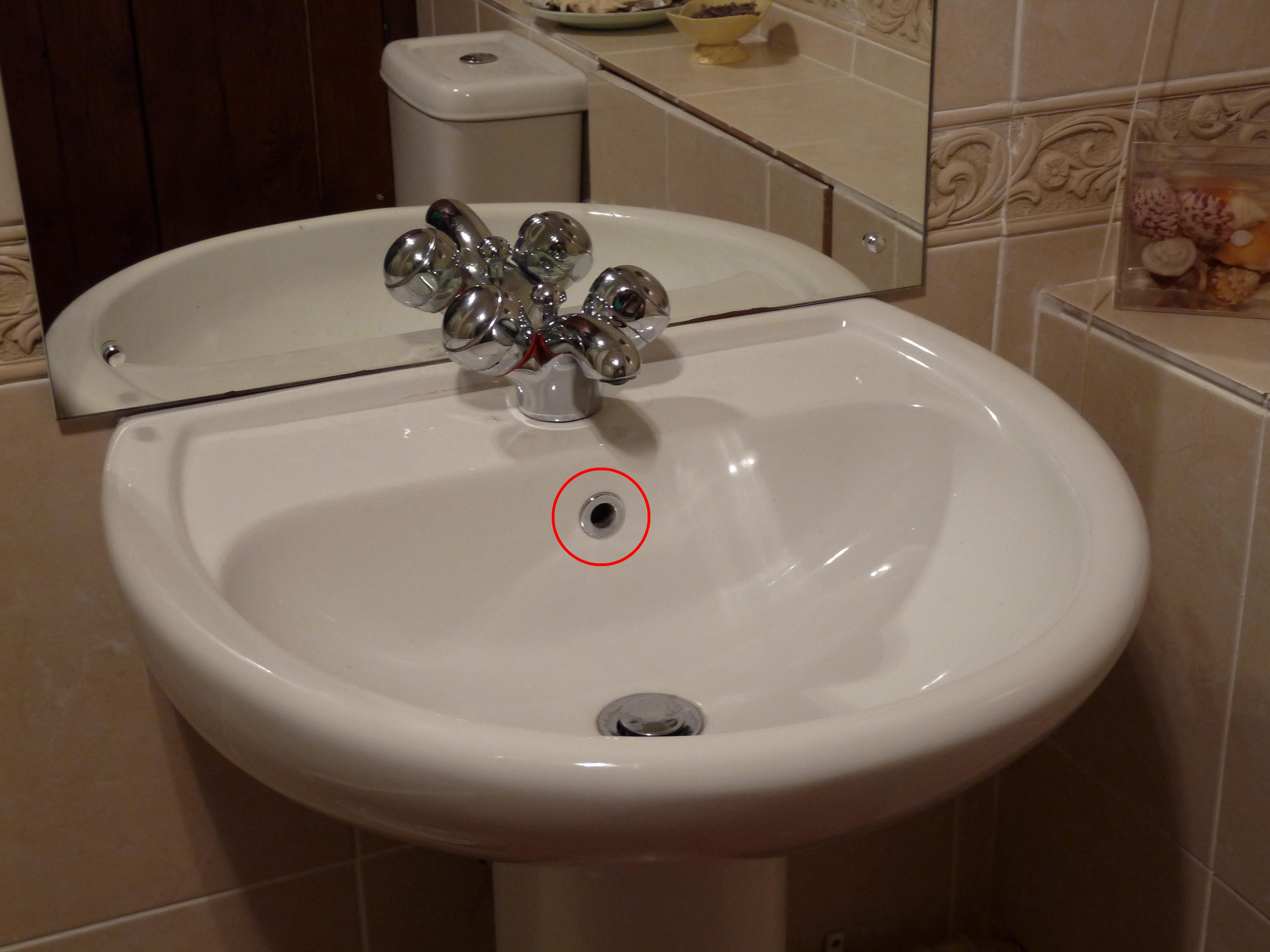 File:Bathroom Sink With Overflow Hole Circled