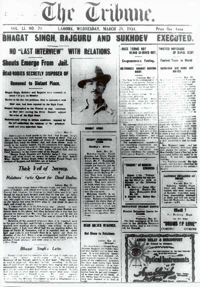 File:Bhagat Singh's execution Lahore Tribune Front page.jpg