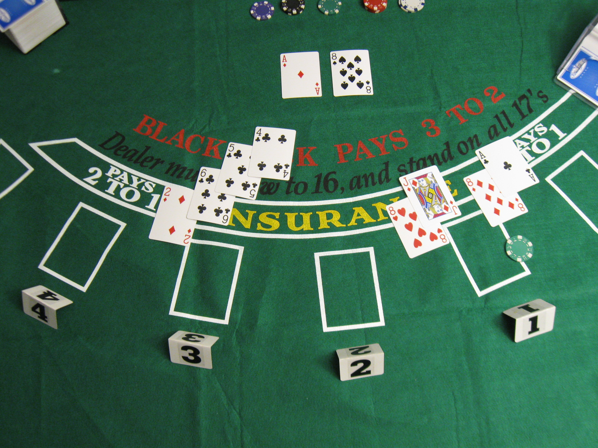 Blackjack table top view - File Blackjack Game 4 Jpg