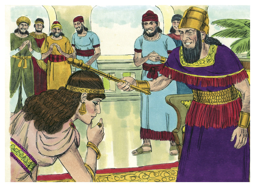 Description book of esther chapter 5-8 (bible illustrations by sweet