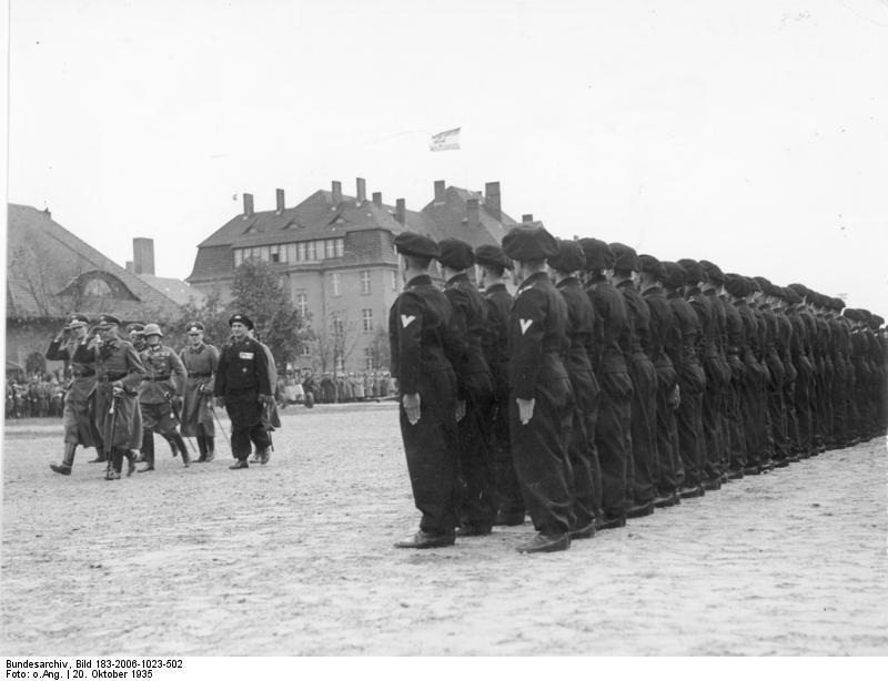 Tank crews inspected by Generalleutnant Ernst Feßmann