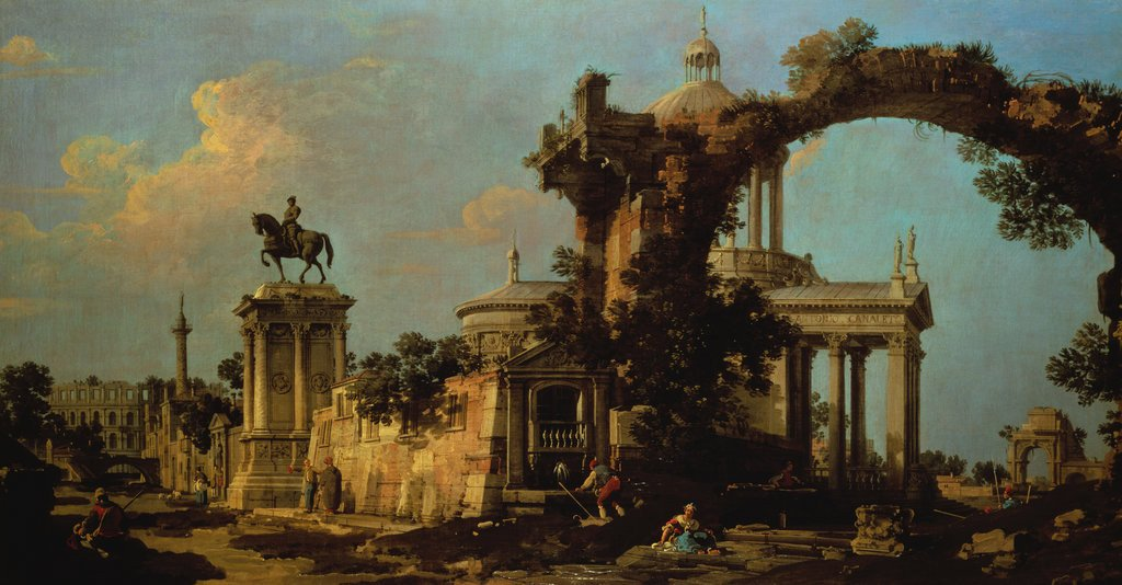 File:Canaletto - Capriccio of Roman Ruins with a Church and the ...