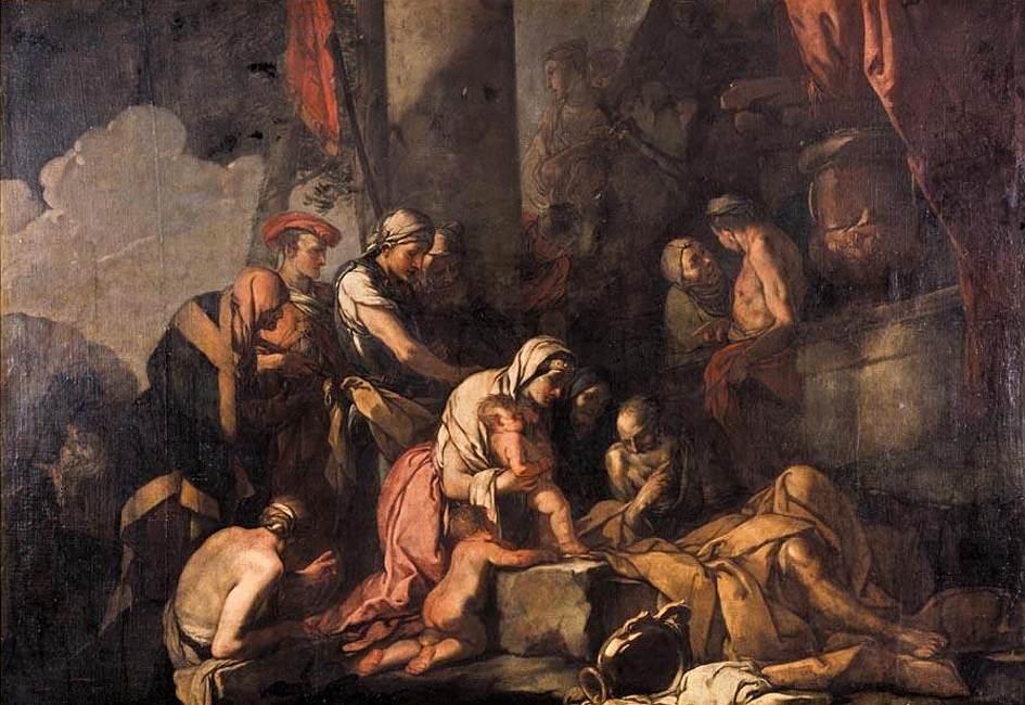 Η Λειριώπη φέρνει τον Νάρκισσο στον μάντη Τειρεσία του Carpioni Giulio