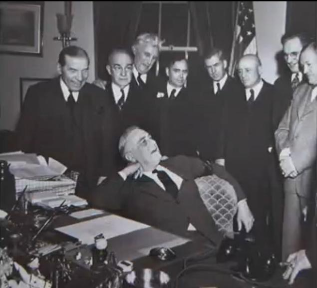 File:Franklin Delano Roosevelt and smiling staff..JPG