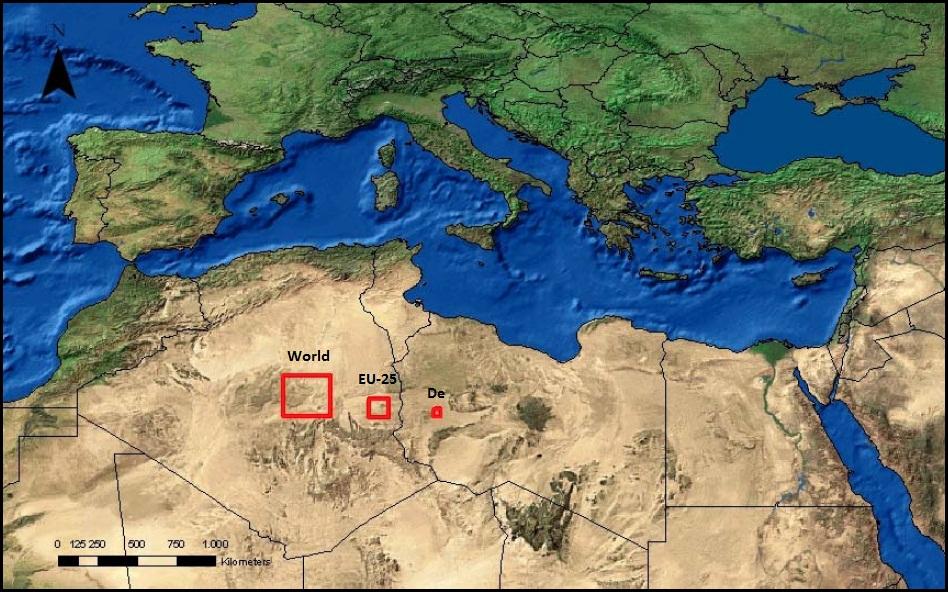 Theoretischer Platzbedarf für Solarkraftwerke, welche in der Lage wären ausreichend elektrische Energie zu erzeugen um den Strombedarf der Welt, der EU-25, sowie Deutschlands (D) zu decken. (Basierend auf Daten des Deutschen Zentrums für Luft- und Raumfahrt, 2005)