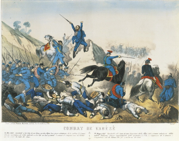 Garibaldi leads the troops in the Battle of Varese.