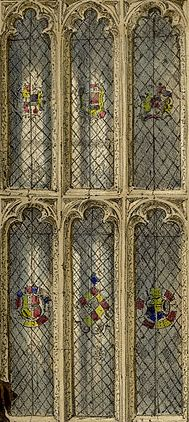 Painted glass at Sutton Place. Detail of ground floor hall window to south of entrance door, illustration by Joseph Nash, c.1840