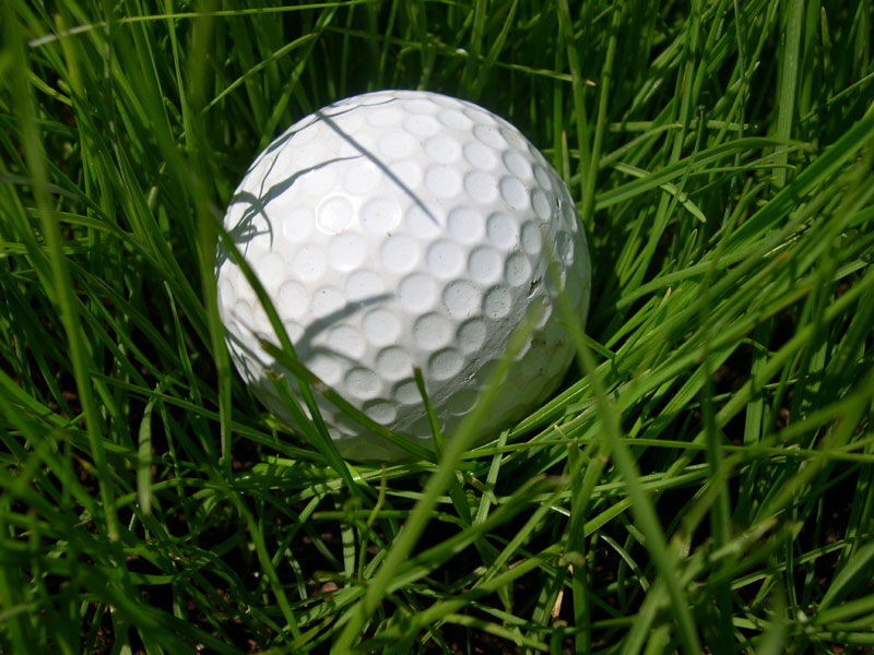 a golf ball in grass