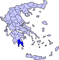 Location of Lakonya Prefecture in Greece