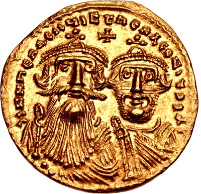 Heraclius in 629-632 (aged 54-57), with his son Constantine. Heraclius 629-632.jpg