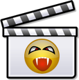 Clip art icon of a clapperboard with a vampire smiley on it