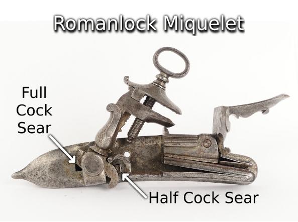 3 pistolets a silex inconnus Italian_Style_Miquelet_Lock%2C_AKA_Romanlock
