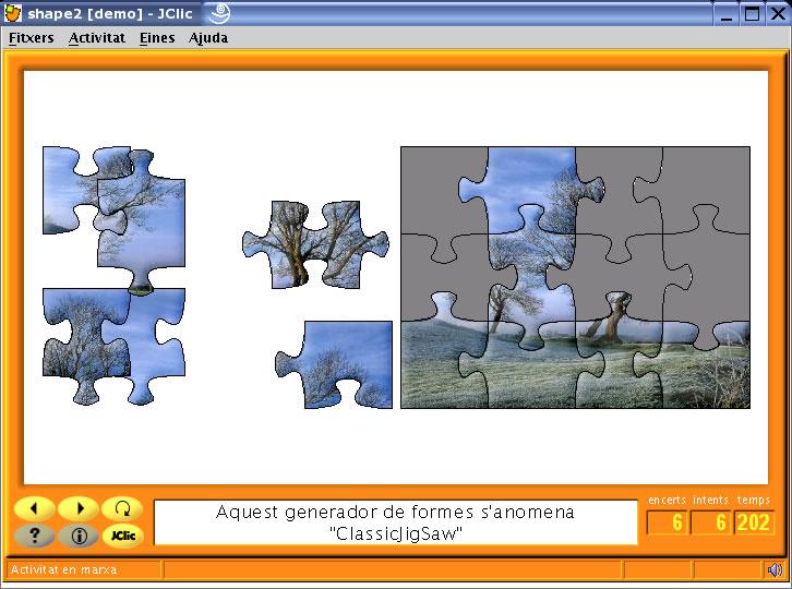 Actividad tipo puzle presentada con JCLIC