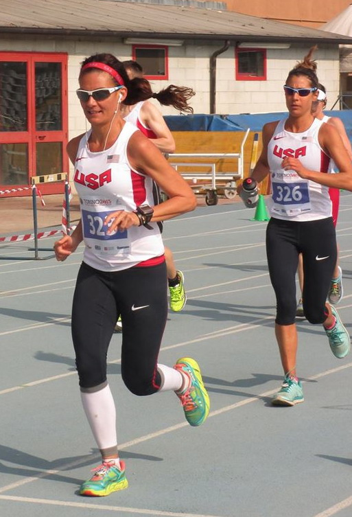 Katalin Nagy (323) on her way to victory at the IAU 24 Hour World Championships in 2015